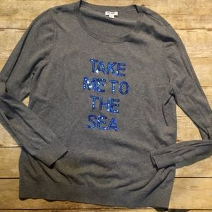 Take me to the sea sweater lightweight sequins XXL